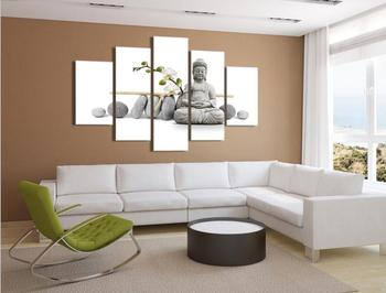 5 Panels HD Printed White Stone Buddha Painting Canvas Print Room decor print poster Picture Canvas P0352