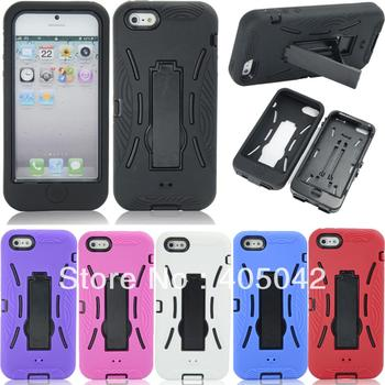 Ağır Silikon Sert kickstand Case Kapak cilt Apple iPhone 5 5G 5th Için 253