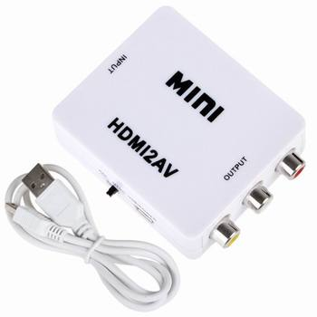 Mini hdmi arayüzü hd video converter kutusu hd av/cvsb video hdmi av adaptörü pc için hdmi2av/ps3/vcr/dvd pal/ntsc çıkışı 1780