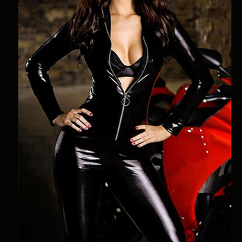 Sexy Cat Woman High Collar Bodysuits Bondage Faux Leather Jumpsuit Charming Latex Catsuit With Front Zipper PVC Leather Clubwear 56303