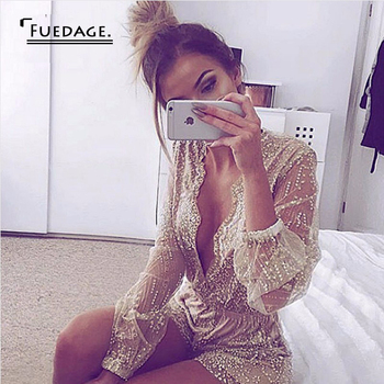 Sexy V Neck Long Sleeve Sequin Jumpsuit Sheer Mesh Club Playsuit For Women Vintage Rompers Overalls Combinaison Femme In Stock 53055