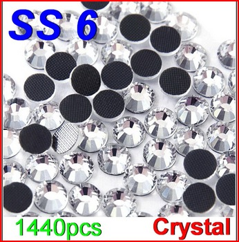 SS6 1440pcs/Bag Clear Crystal DMC HotFix FlatBack Rhinestones glass strass,DIY heat iron hot fix glass crystals stones glitters 54998
