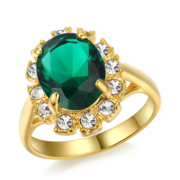 ZHOUYANG Gold-Color Green Crystal Ring Elegant Jewelry Cubic Zirconia Austrian Crystal Stellux Full Size Wholesale ZYR100 1006